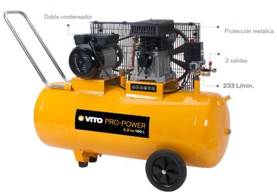Compresor 100 lts 2,5 cv - Compresor electrico 2.5cv correa.
